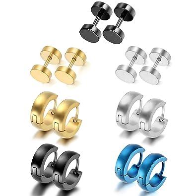 Aroncent Pendientes de Aro de Acero Inoxidable Quirúrgico para Oído Clásico Aretes de Perno de Moda Joyería de Cuerpo para Hombre Mujer Unisex 14PCS