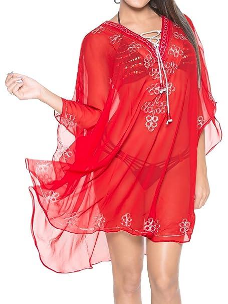 LA LEELA cubren gran playa de la gasa bordada nadar caftan Mujeres top túnica blusa roja