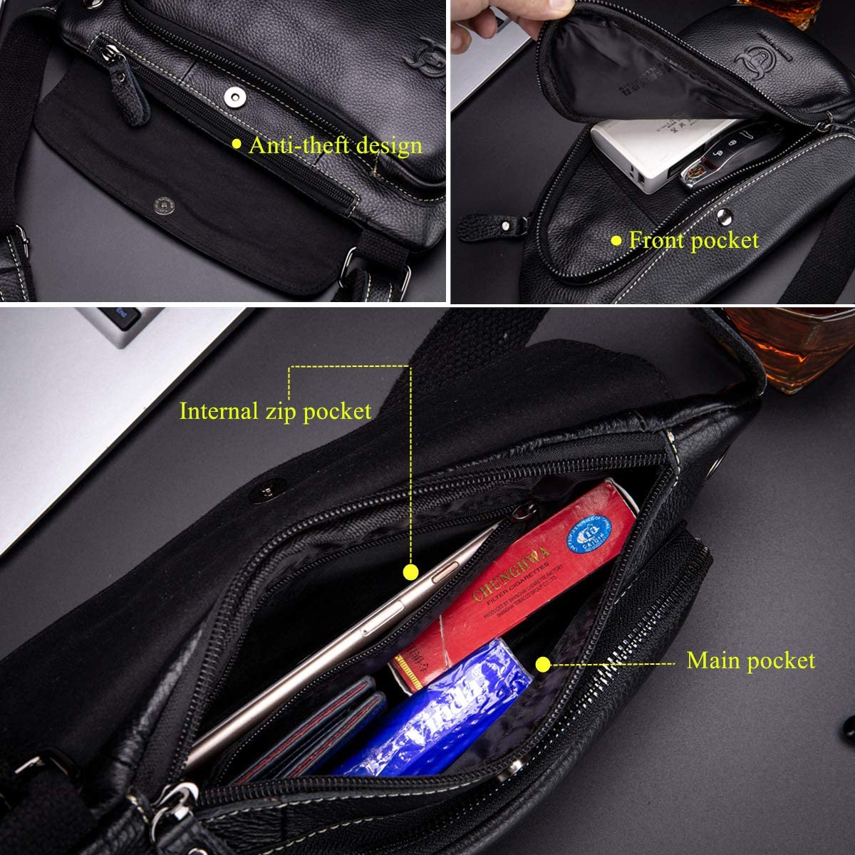 BULLCAPTAIN Anti-theft Sling Bag Travel Crossbody Backpack Genuine Leather Slim Multipurpose Outdoor Chest Bag XB-125