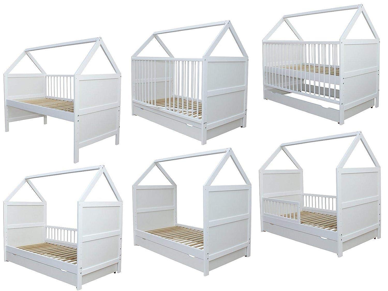 Juniorbett Bett Haus 140x70cm massiv weiss viele Umbaumöglichkeiten Kinderbett