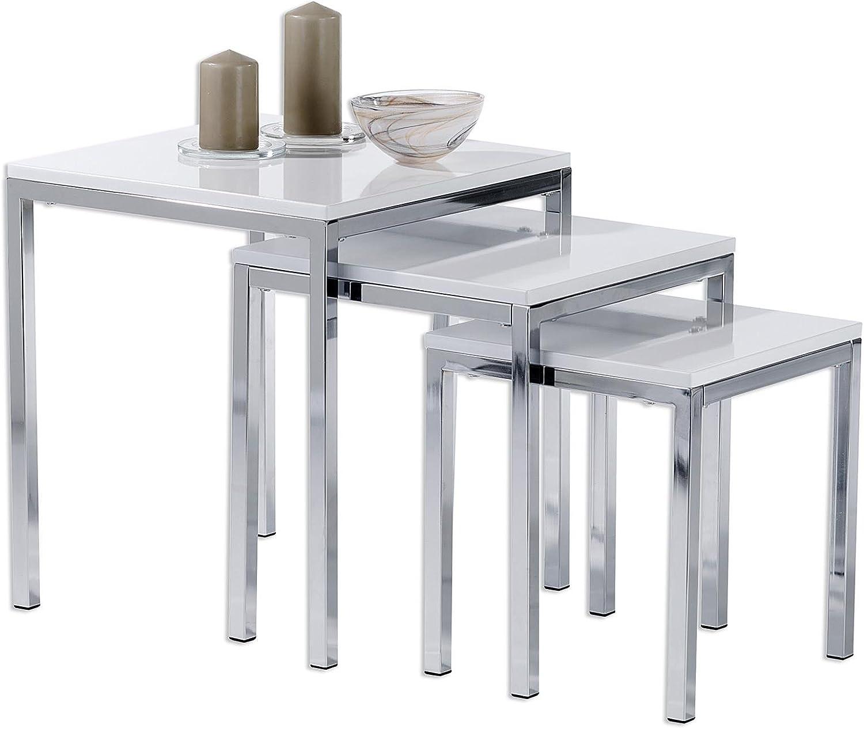 Vislone Lot de 3 Tables gigognes de Salon Tables Basses en Ch/êne Style scandinave