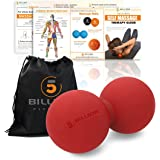 5BILLION Double Massage Ball - Therapy Peanut Ball, Stress Ball & Double Lacrosse Ball - Deep Tissue Massage Tool for Back, Foot, Neck (red)