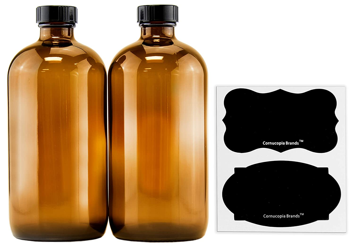 16-Ounce Amber Glass Bottles with Reusable Chalk Labels and Lids 2 Pack , Refillable Brown Boston Round Bottles, with Black 28-400 Caps