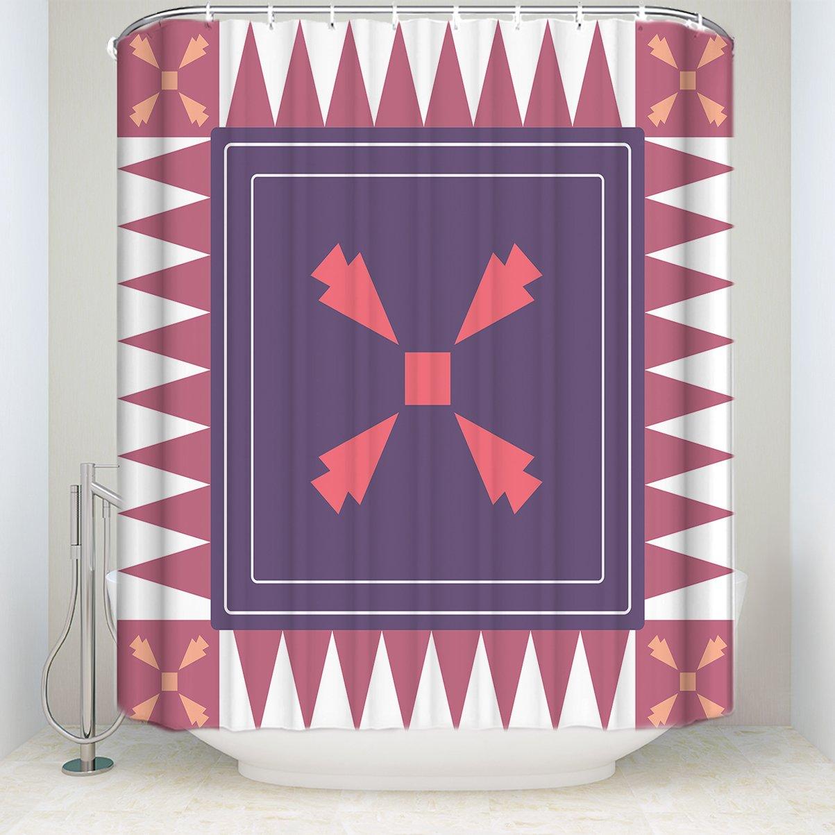 Repeated Geometric Square Figures Printed Patteren Shower Curtain Hooks Waterproof Mildew Resistant Polyester Fabric Bath Curtains Bathroom Showers Bathtubs 36 x 72 Women Trend HZY0428-TK-HILDA-0442-1