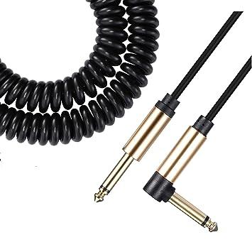 Asmuse™ Cable Rizado para instrumento de bajo guitarra eléctrica 1/4 pulgadas 6,3 mm jack cable en espiral con reducción de ruidos para Guitarra ...