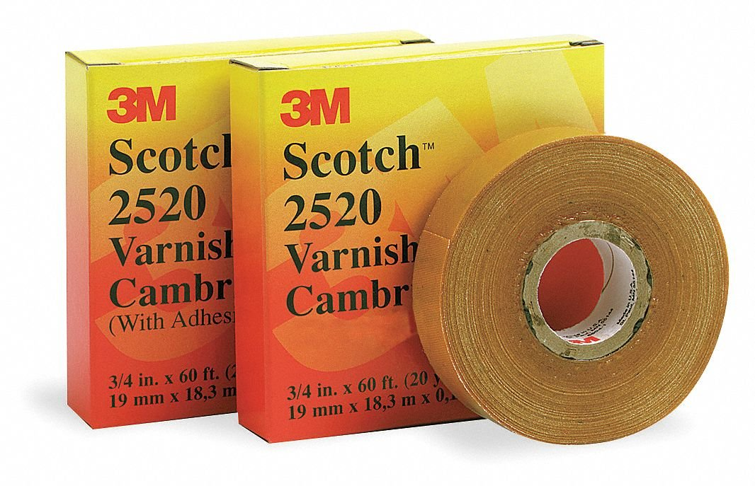 3m Cloth Varnished Cambric Tape, Rubber Tape Adhesive, 8.00 mil Thick, 3/4'' X 108 ft., Yellow, 1 EA - 1 Each