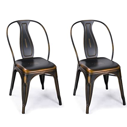 Joveco Copper Bronze Metal Stackable Dining Chairs With Full Back Set Of 2