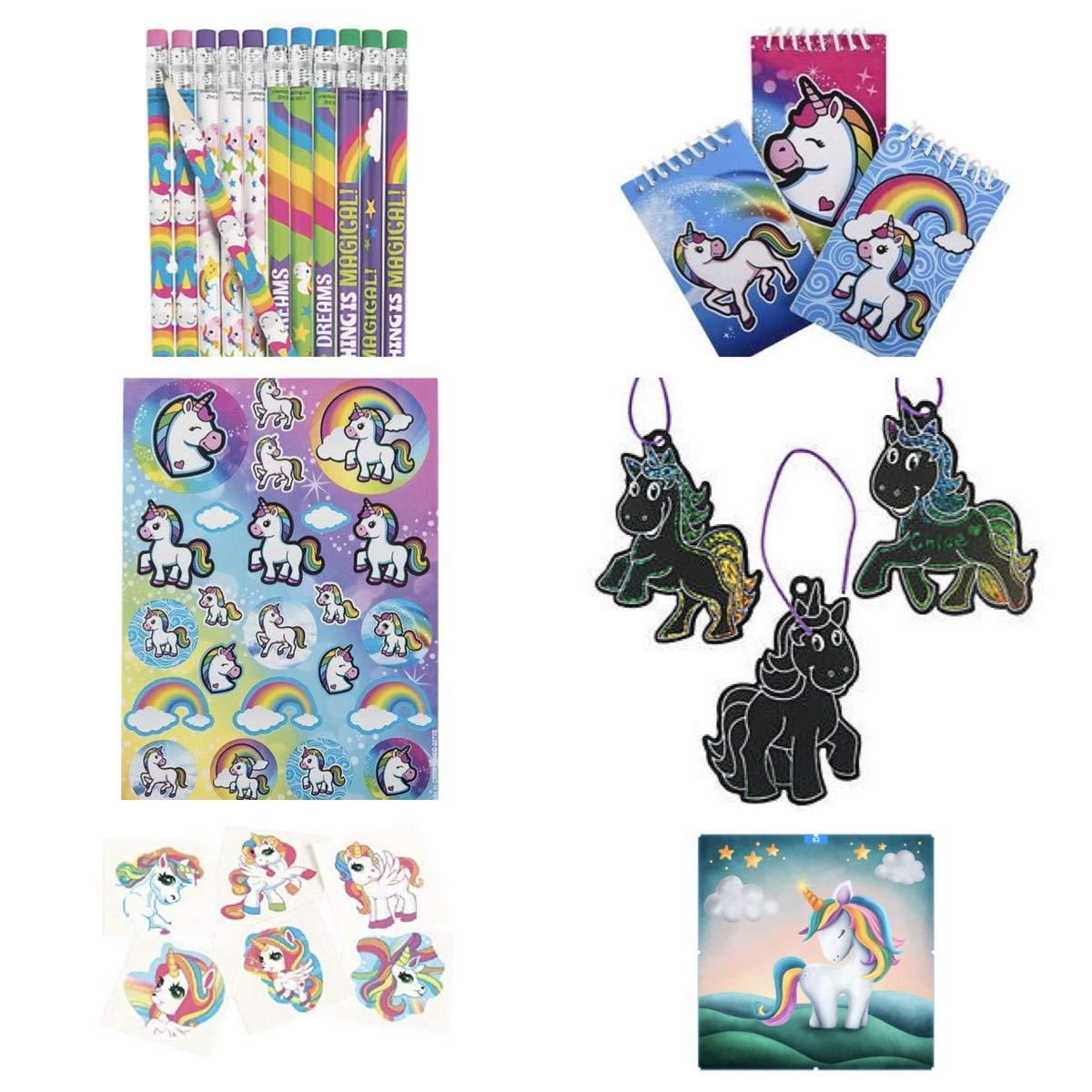 Mini Notebooks Tattoos Teacher Classroom School Supplies Rewards Incentive Motivation mixed 264 Pretty Rainbow Unicorn Party Favors Stickers Ornament Crafts Pencils