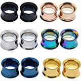 Longbeauty Colorful Stainless Steel Screwed Ear Gauges Tunnels Plugs 12pcs Set