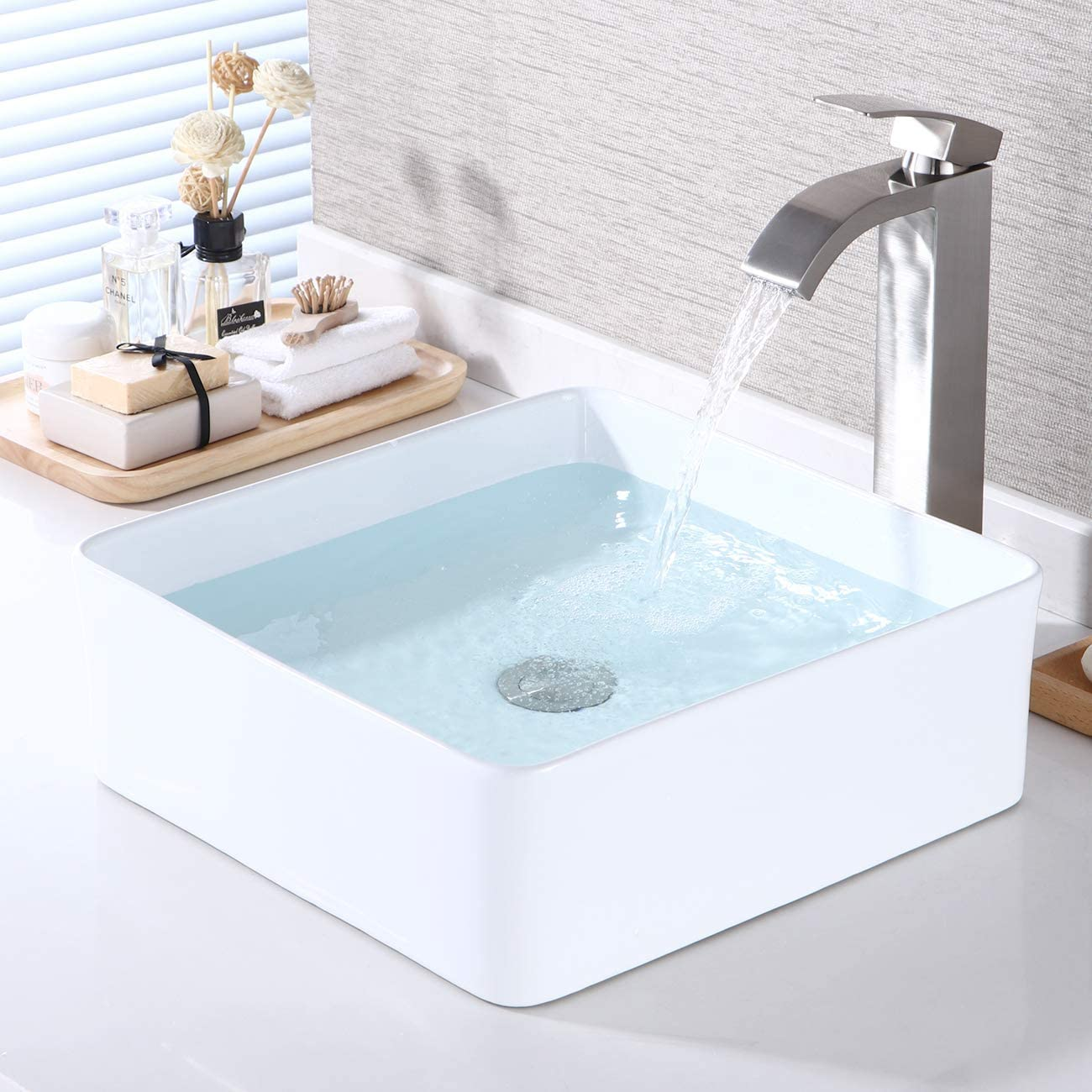 KES Bathroom Vessel Sink 14 Inch Above Counter Square White Ceramic Countertop Sink for Cabinet Lavatory Vanity, BVS122