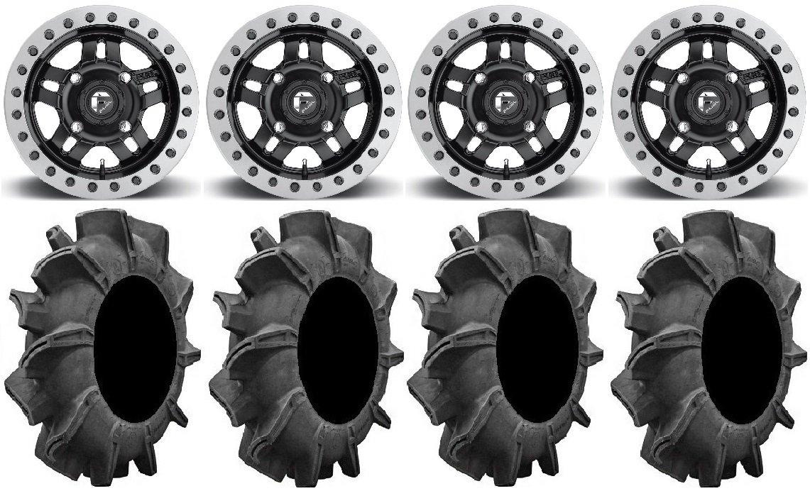 Bundle - 9 Items: Fuel Anza Beadlock Bk 14'' Wheels 32'' Assassinator Tires [4x137 Bolt Pattern 10mmx1.25 Lug Kit]