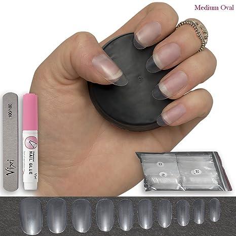 Uñas postizas ovaladas, transparentes, 10 tamaños, cortas y medianas, para uso en