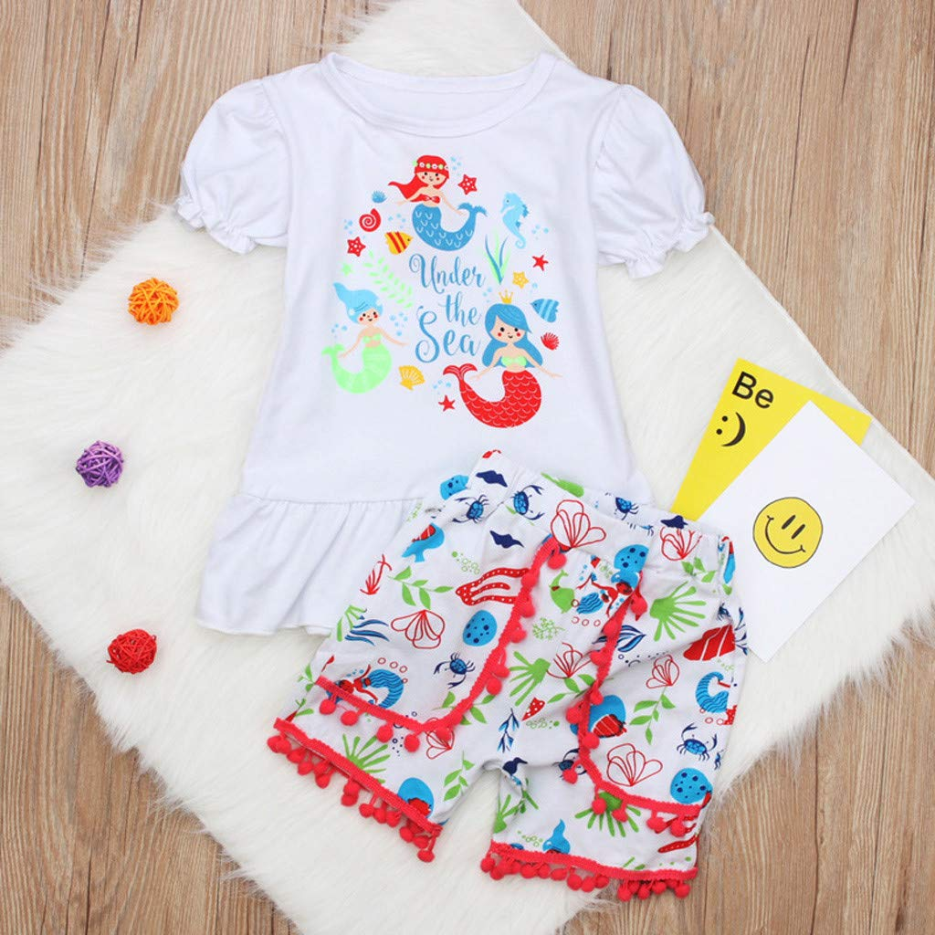 Womola Toddler Kids Baby Girl Clothes Outfits Girls Short Sleeve Tops Alphabet Shorts Two-Piece