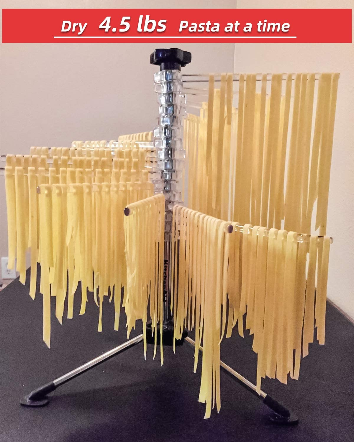 Collapsible Pasta Drying Rack with 16 Suspension Rods Pasta Drying Rack