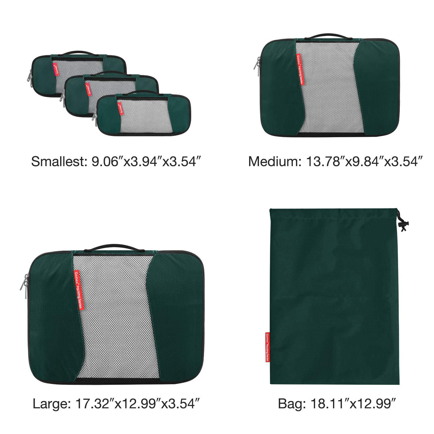 Travel Packing Cubes Gonex Luggage Organizers Different Set