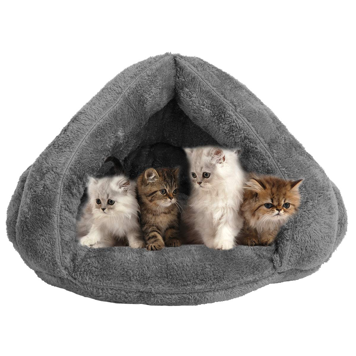 Grey One Size Grey One Size VeMee Plush Cat Sleep Bag Cozy Pet Cave Bed Covered Pet Beds Cave for Cat Small Dogs and Puppies Winter Pets Indoor Triangle Nest