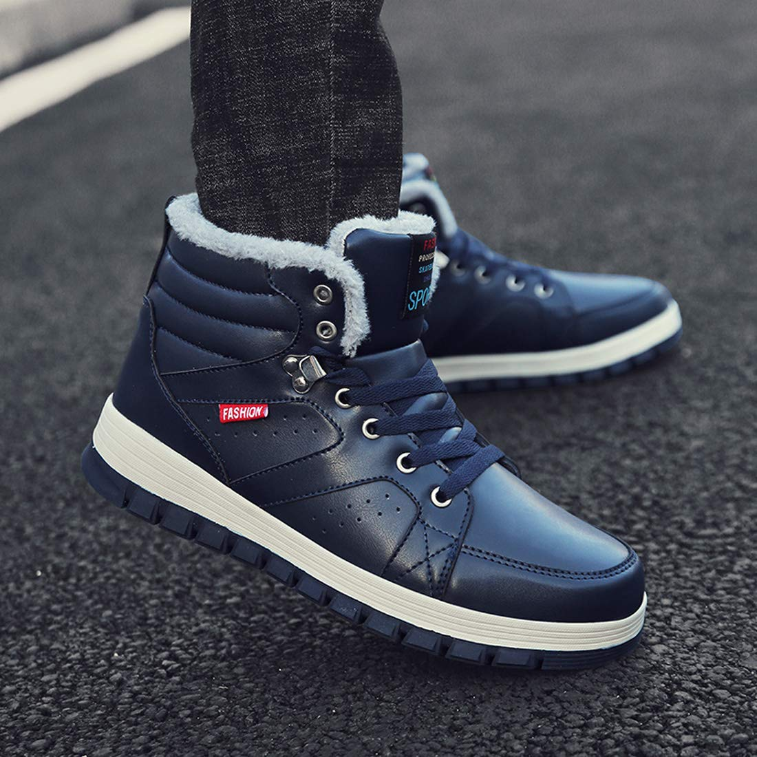 Ceyue Mens Leather Snow Boots Lace up Ankle Sneakers High Top Winter Warm Walking Shoes with Fur Lining(Blue 43) by Ceyue (Image #6)