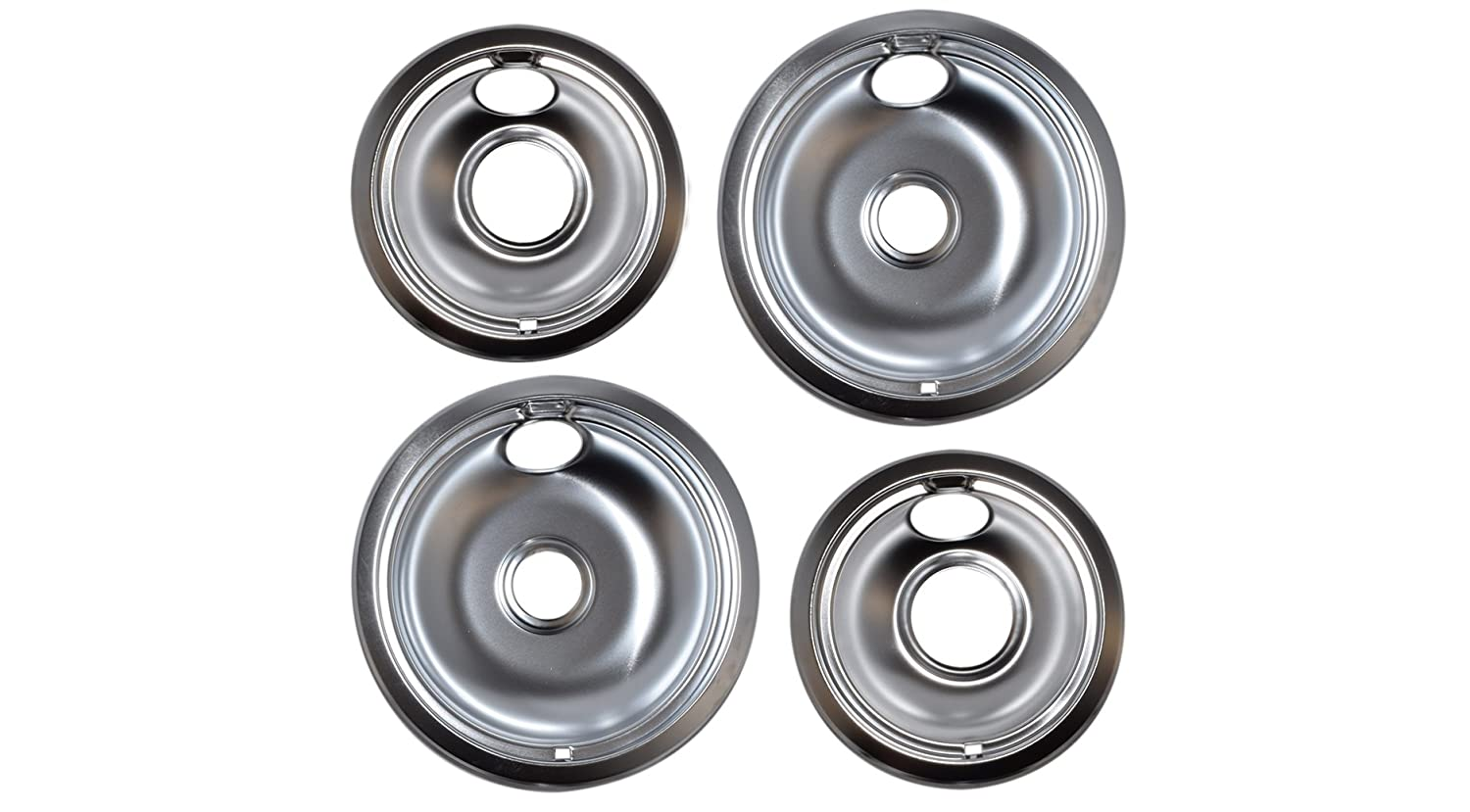 "Vastu Aftermarket Replacement Drip Pans for Whirlpool Range - 2 Large 8"" and 2 Small 6"" Drip Bowl Pans - Set of 4 - x2 of W10196405 - x2 of W10196406"