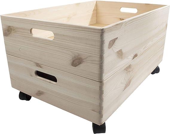 Search Box Caja de Almacenamiento Extra Grande de 1 a 4 Niveles, de Madera, con Ruedas y Asas, Madera, Natural, 2 Niveles: Amazon.es: Hogar