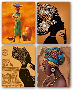 """African American Ethnic Ancient Black Woman Wall Art Paintings Set of 4 ("""" 8x10""""Canvas Picture) For Office Living Room Corridor Kitchen Bathroom Poster Art Prints Home Decor Unframed"""