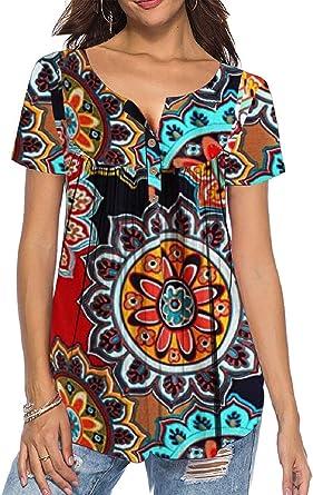 Tuopuda – Camiseta de mujer, cuello en V, tira de botones, túnica sólida, verano, con volantes, tops decorativos, camiseta de flores, parte superior naranja L: Amazon.es: Ropa y accesorios