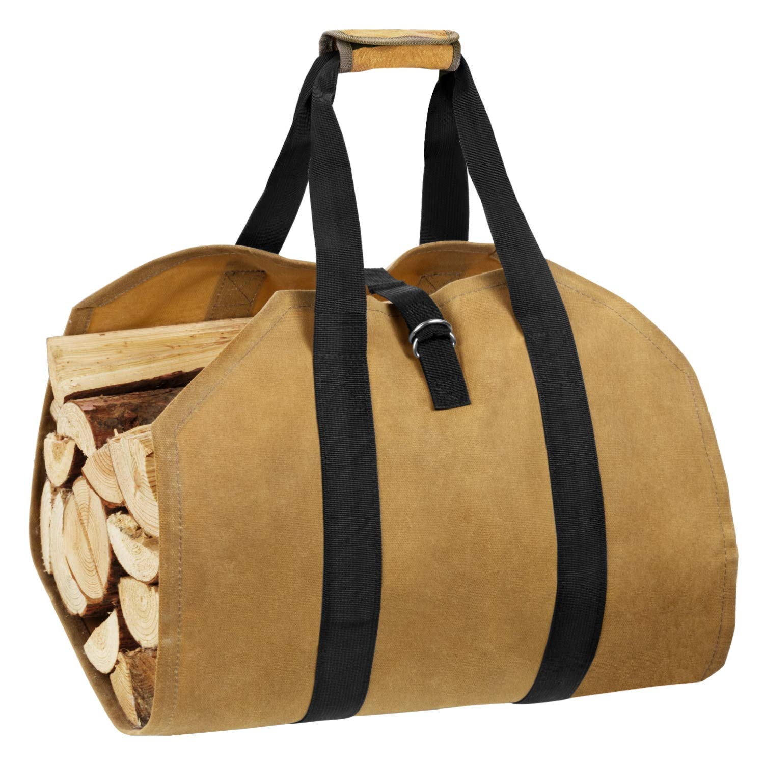 eletecpro Durable Waxed Canvas Firewood Log Carrier Heavy Duty Tote,Fire Place Sturdy Wood Carring Bag with Handles Security Strap for Camping Indoor by eletecpro
