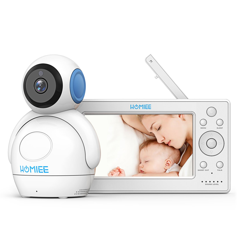 Video Babyphone,HOMIEE Babyphone 360 ° Baby Kamera, 5 Zoll LCD Monitor und 300m 2,4G Wireless Verbindung, Wiederaufladbarer Monitor,Ton und Temperaturalarm, Nachtsicht, Wiegenlied und Zweiwege Audio