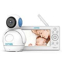 HOMIEE 720P Moniteur Vidéo Baby Phone sans fil avec écran LCD HD de 5 pouces et caméra Babmax, Conversation audio bidirectionnelle et berceuse. Alerte sonore de température.