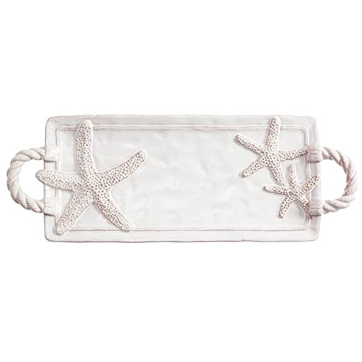 Christmas Tablescape Decor - White Starfish Milk Glazed Terracotta Tray by Mud Pie