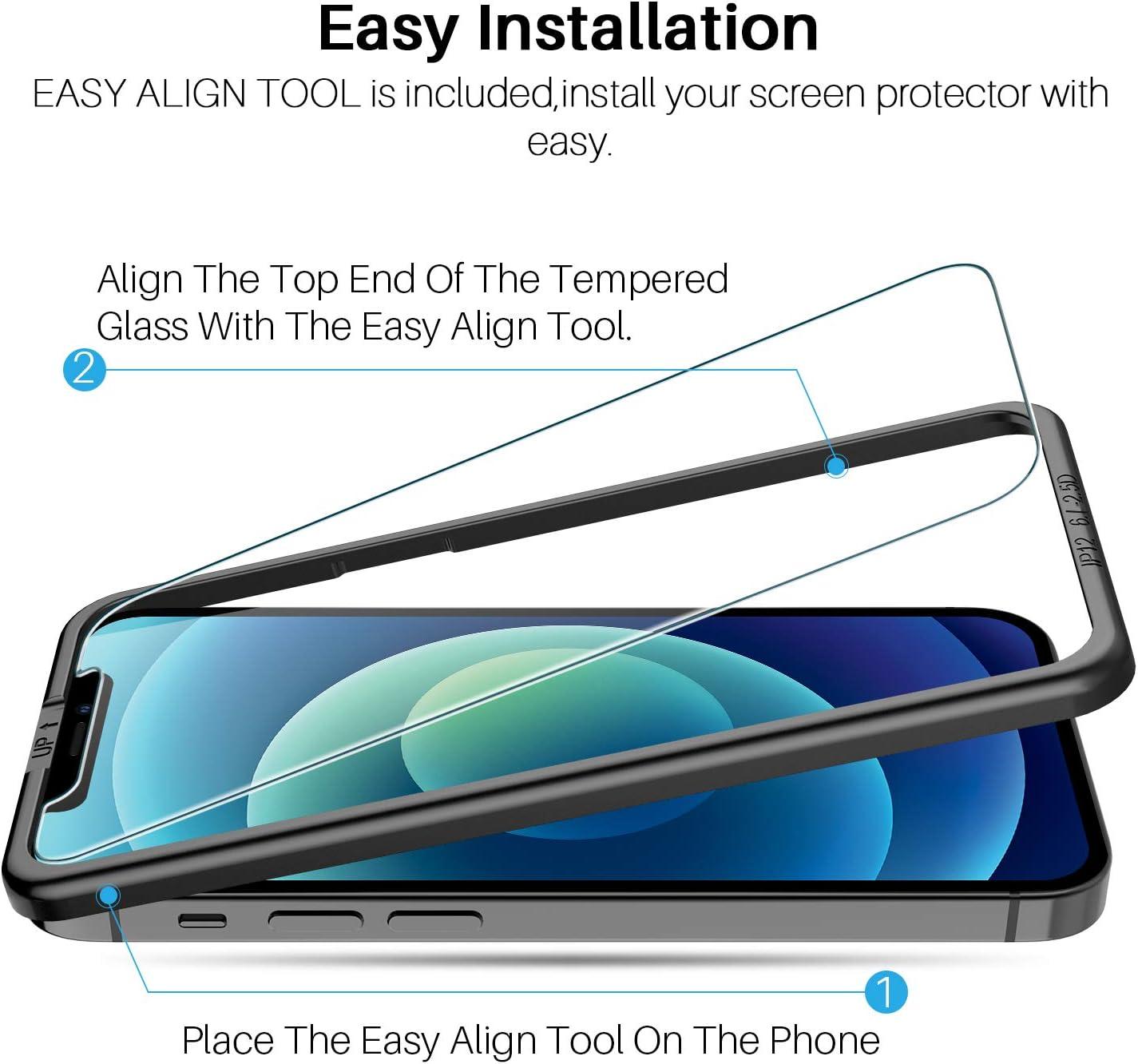LK Cam/éra Arri/ère Protecteur pour iPhone 12 Pro Facile /à Installer Anti Rayures Verre tremp/é Film Protection /écran Haute D/éfinition 3 pi/èces 6.1