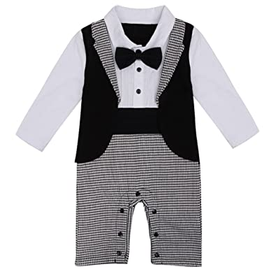 101f68c4 YiZYiF Baby Boy's Gentleman Romper Swallow Tail Tuxedo Suit With Bowtie  Black Plaids 6-9
