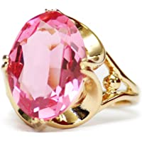 Providence Vintage Jewelry 1970's Cocktail Ring with Rose Swarovski Crystal 18k Gold Electroplated