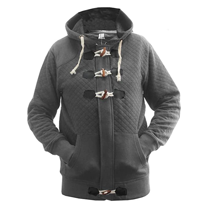 Get The Trend Mens Plain Quilted Duffle Coat Fleece Toggles