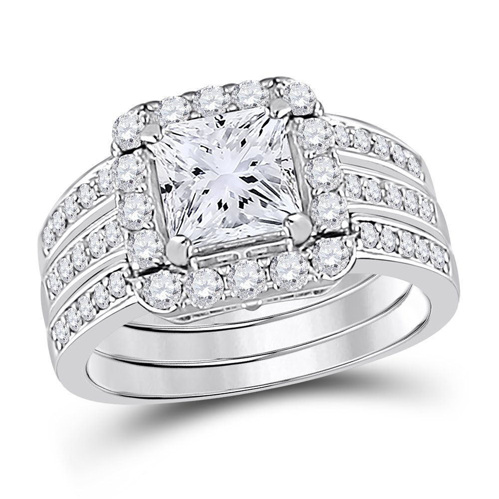 Allyanna Gifts 925 Sterling Silver 2 ct CZ Square-cut Stackable Wedding Engagement Ring Size 5-10 (8)