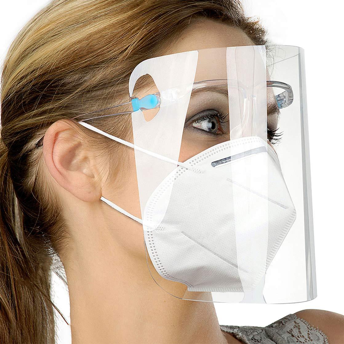 12 piezas de visera y 6 piezas de gafas de protecci/ón de seguridad anti-saliva para hombres y mujeres Pantalla de protecci/ón facial transparente