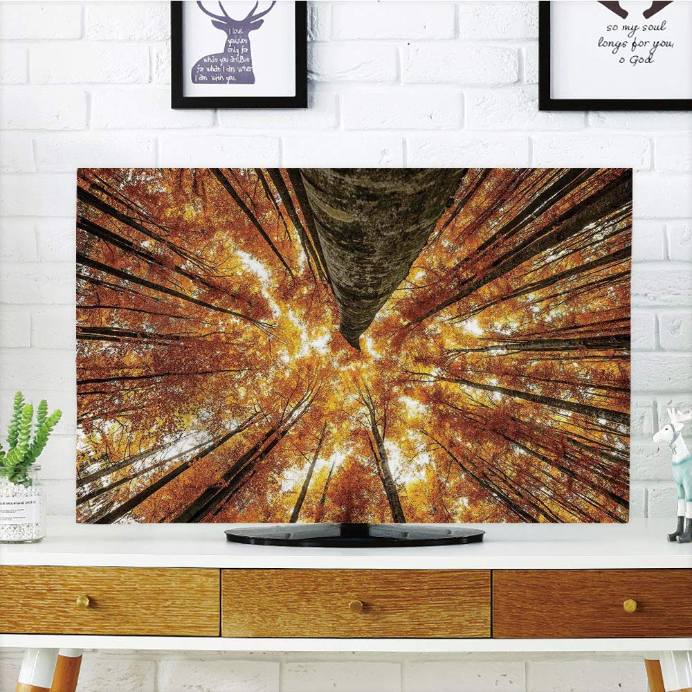 iPrint LCD TV Cover Multi Style,compatibleest Home Decor,Big High Beech Trees Deciduous Shedding Canadian Maples Idyllic Print,Orange Brown,Customizable Design Compatible 47'' TV