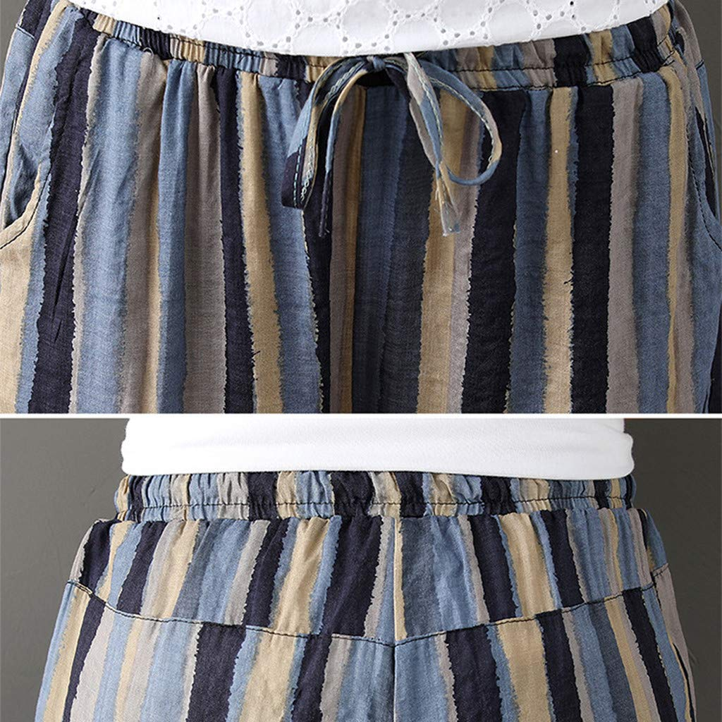 Pantalones Harem Mujer Algodon❤️Absolute Pantalones Estampados de Rayas de Mujer Pantalones de algodón de Lino Harlan Pantalones de Cintura elástica de ...