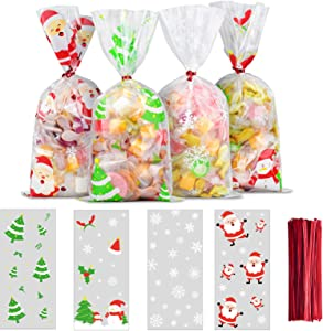 ERKOON 200 PCS Christmas Cellophane Candy Gift Bags Cookie Treat Bags Clear Bags with 250 PCS Twist Ties for Christmas Party Festival Favor, Christmas Goodie Bags,Party Supplies, 4 Styles