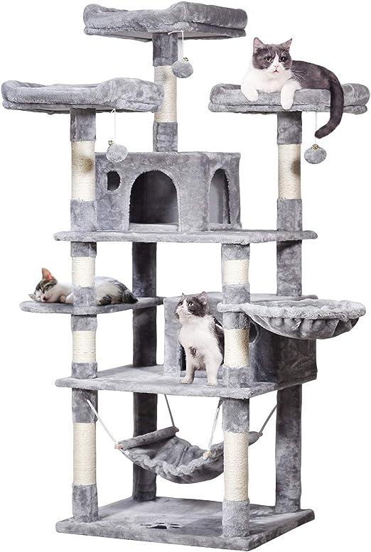 MQFORU Árbol Rascador para Gatos Grandes, Torre de Escalada con 2 Nidos, Hamaca, Plataformas, Bolas de Juego, 170 cm (Gris Claro): Amazon.es: Productos para mascotas
