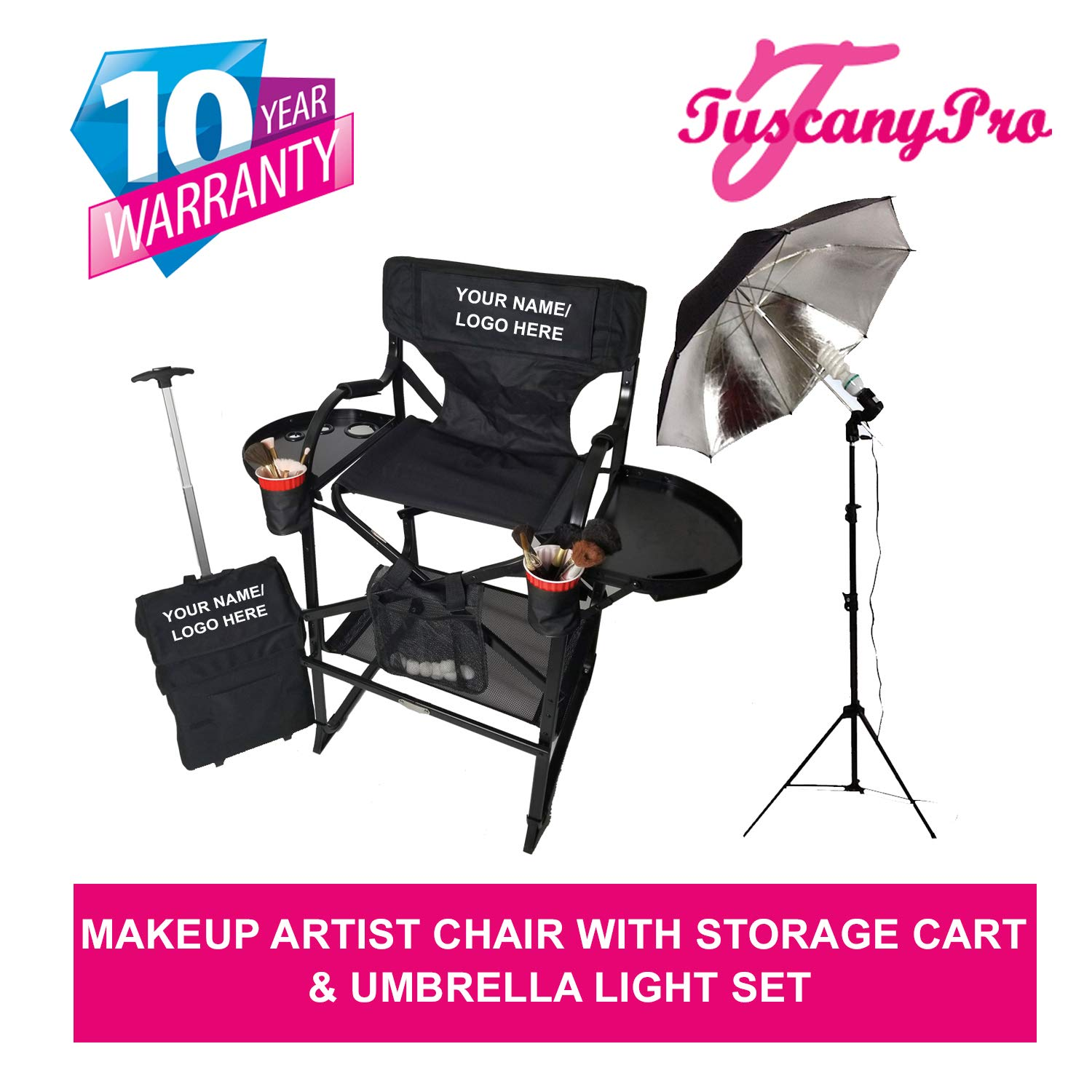 TuscanyPro Portable Makeup Artist Chair with Storage Cart Umbrella Light Set – Perfect for Makeup, Salons, Movie Sets – Italian Design – 10 Years Warranty – US Patented – 29 Inch Seat Height