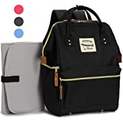 Wide Open Designer Baby Diaper Backpack By Moskka–Travel Bag, Nappy Tote Bag w/ Stroller Straps, Changing Pad & Insulated Pocket For Mom & Dad -Black