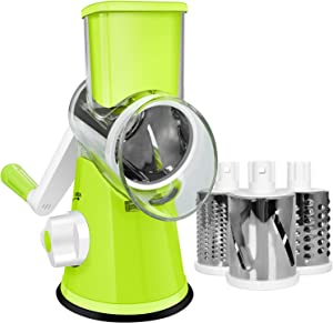 SEYODA Cheese Grater, Rotary Cheese Grater, Efficient Graters for Kitchen with 3 Interchangeable Round Stainless Steel Blades, Easy to Clean Cheese Shredder for Fruit,Vegetables,Nuts. (Green)