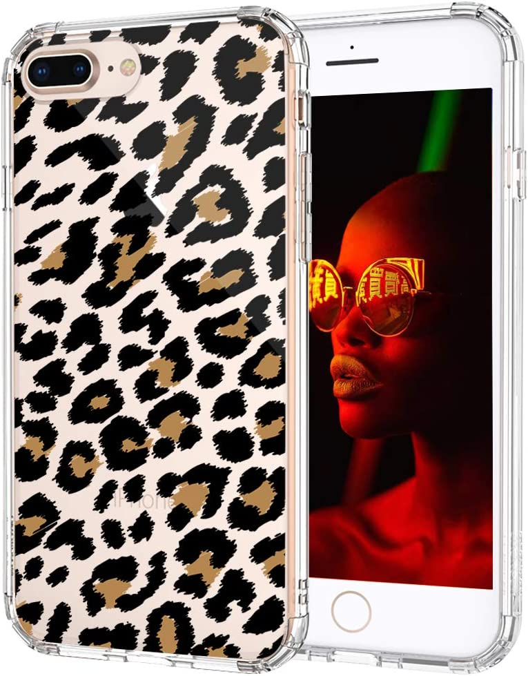 MOSNOVO Case for iPhone 8 Plus, Cute Leopard Cheetah Print Slim Clear Case Design with Shockproof TPU Bumper Protective iPhone 7 Plus Phone Case for Women Girls