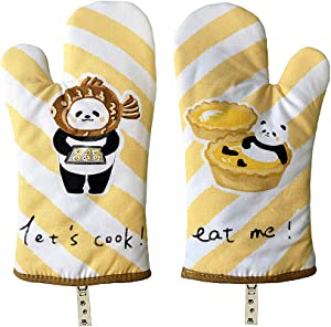 kookia Oven Mitts,100% Cotton Thick Heat-Resistant Gloves for Microwave,Baking Oven,Cooking,Grill and BBQ.