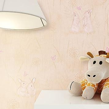 Kindertapete Tiere Beige Rosa Niedliche Hasen Und Schmetterlinge