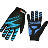 Lerway Winter Gloves Silica Gel Padded Full Finger Anti-skid Warm Wear for Fitness, Racing, Bike Cycling, Riding, Outdoor Sports (L, Blue)