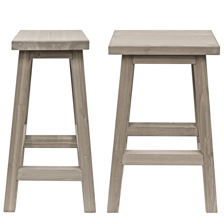 Amazon com yardistry 29 saddle outdoor wood bar stools set of 2 garden outdoor