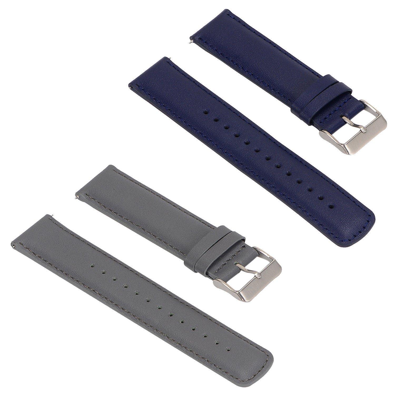 turnwinの化石Q Wristbandsストラップ、2pcs交換用レザーバンド化石Qのみ  Gray+Blue B075P49BJW