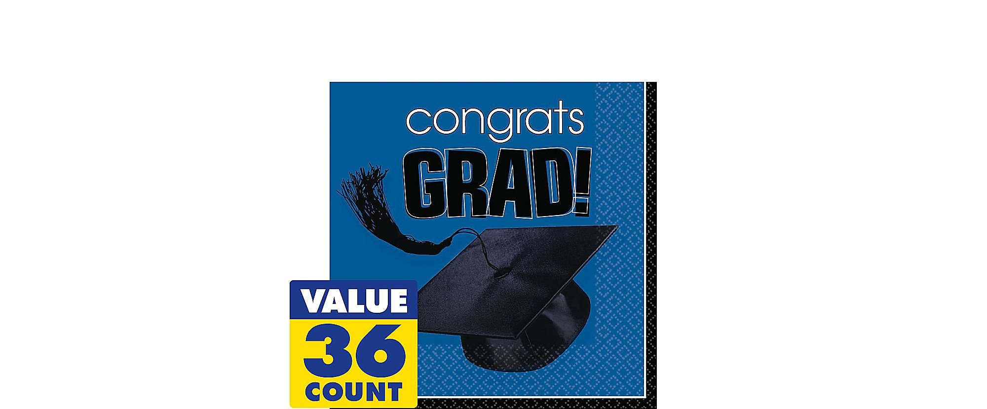 Flying Colors Graduation Party School Colors Luncheon Napkins Bright Royal Blue Tableware, Bright Royal Blue, Paper , 6'' x 6'' Pack of 36