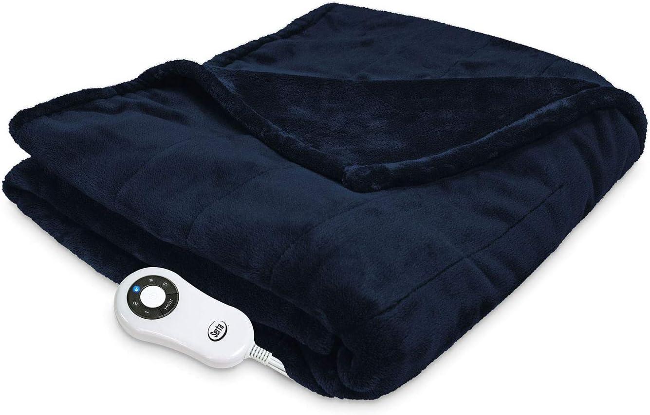 Serta 874614 Silky Plush Electric Heated Warming Throw Blanket Navy Washable Auto Shut Off 5 Heat Settings